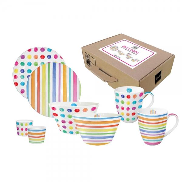 Набор 2 тарелки+2 миски+2 кружки+2 подставки для яиц aquarell spots & stripes