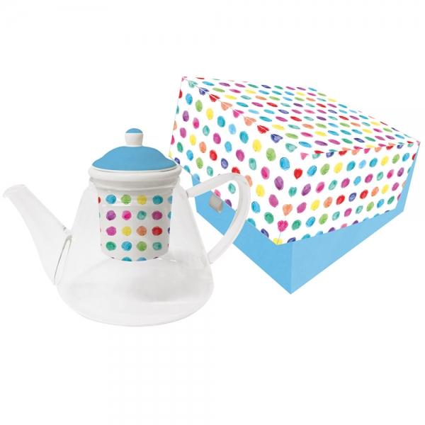 Чайник с ситечком aquarell spots стеклянный