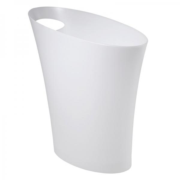Контейнер мусорный skinny белый металлик