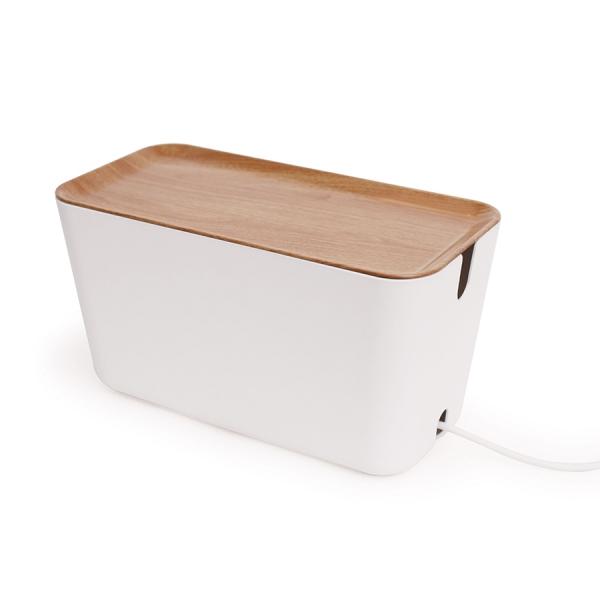 Органайзер для проводов box большой белый/коричневый