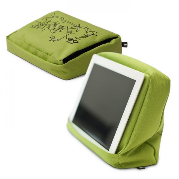 Подушка-подставка с карманом для планшета hitech 2 зеленая/черная