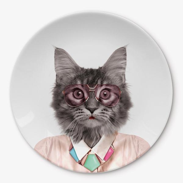 Тарелка wild dining кот