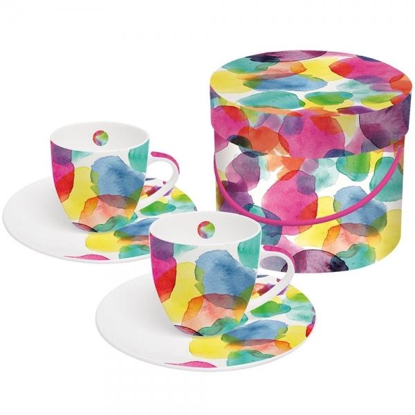 Набор чашек для эспрессо в подарочной коробке aquarell dots 100 мл