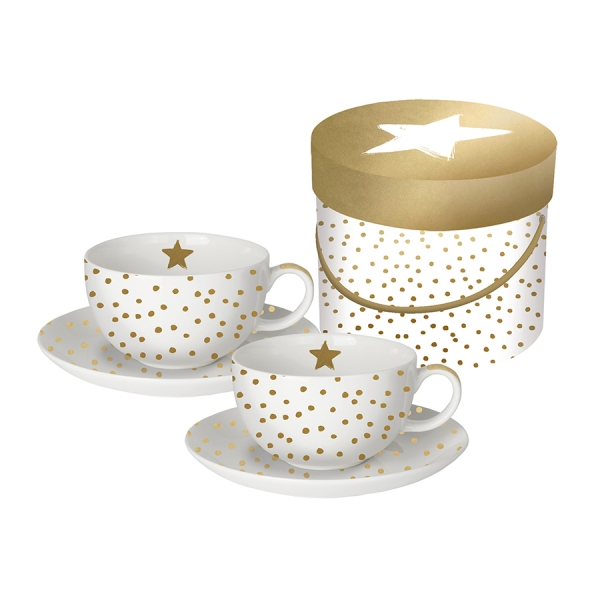 Набор чашек для капучино в подарочной упаковке the star money 200 мл с настоящим золотом