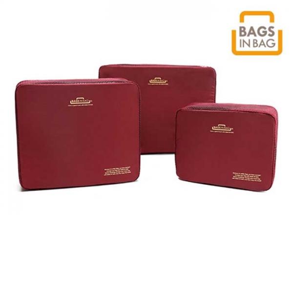 Органайзер для вещей BagsInBag - набор из 3 предметов - бордовый