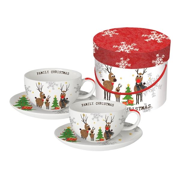 Набор чашек для капучино в подарочной коробке family christmas 200 мл