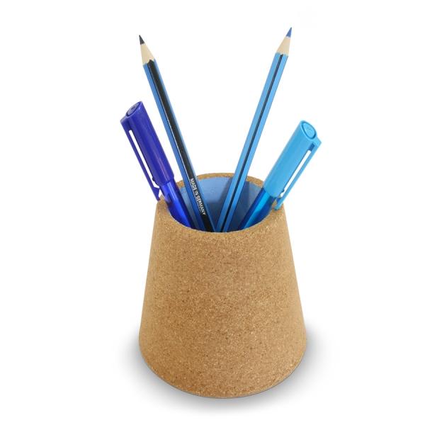 Стакан для ручек пробковый синий