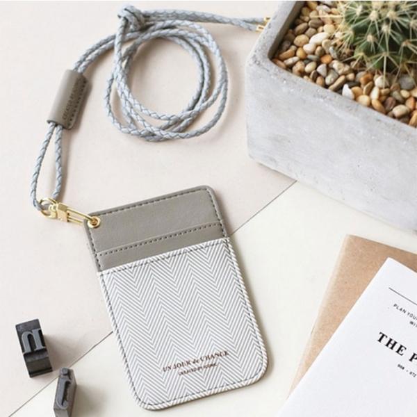 Чехол для пропуска с ремешком Swing Neck Pocket - серый