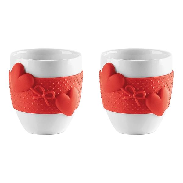 Набор из 2 чашек для кофе love красный