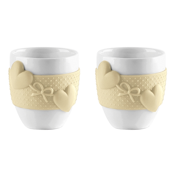 Набор из 2 чашек для кофе love жёлтый