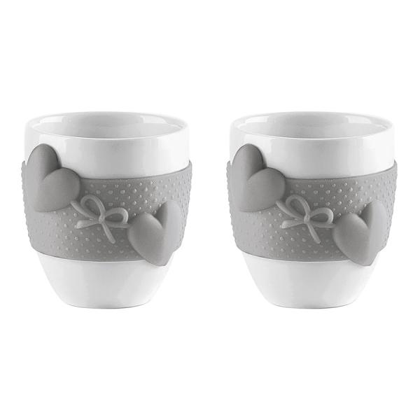 Набор из 2 чашек для кофе love серый