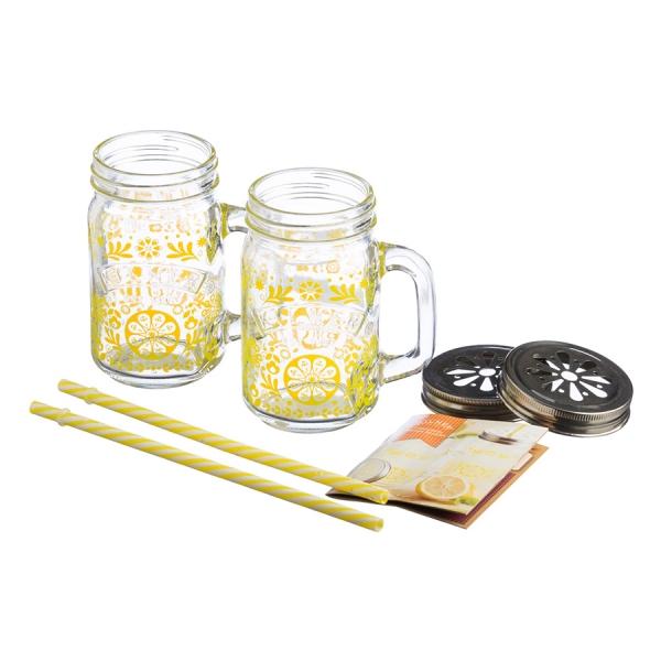 Подарочный набор для лимонада из 2 банок с ручками и трубочек